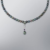 Pearl Necklace with Treated Black Freshwater 8.5-6.0 mm Pearls