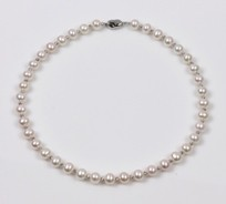 White Freshwater Pearl Necklace 8.5mm and Silver Beads