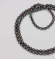 Freshwater Pearl Treated Black Endless Necklace 8.5mm