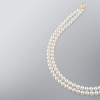 Pearl Necklace with White Japanese Akoya 7.5-7.0 mm Pearls