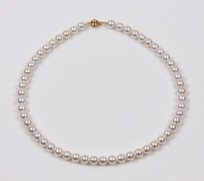 White Japanese Akoya Pearl Strand Necklace 8.5mm 18KY