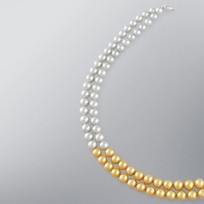 Pearl Necklace with Treated Golden & Treated Grey Japanese Akoya 8.0-7.5 mm Pearls