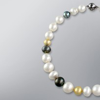 Pearl Necklace with Natural Mix color South Sea 16.0-11.5 mm Pearls