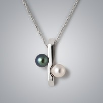 Percentage Pearl Pendant with Natural Multicolor and Treated Black Freshwater Pearls