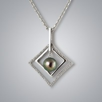 Pearl Pendant with Treated Black Freshwater Pearl and Diamonds