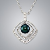 Pearl Pendant with Treated Black Freshwater 8.0-7.5 mm Pearl