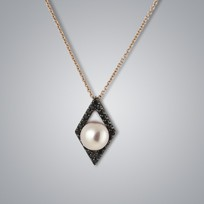 Pearl Pendant with Natural Multicolor Freshwater Pearls and Black Diamonds
