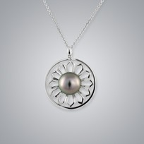 Pearl Pendant with Natural Black South Sea 11.0-10.0 mm Pearls