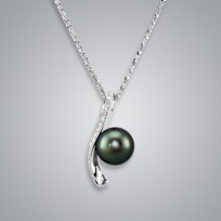 Pearl Pendant with Natural Black Tahitian 11.0-10.0mm Pearl