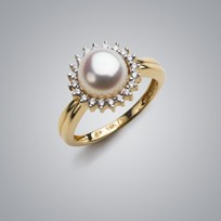 Sunburst Pearl Ring with White Freshwater Pearl and Diamonds