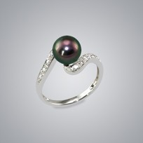 Pearl Ring with Treated Black Freshwater 8.0-7.5 Pearl
