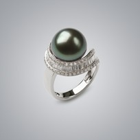 Pearl Ring Natural Black South Sea 13.0-12.0 mm Pearl