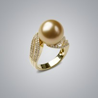 Pearl Ring with Natural Golden South Sea 13.0-12.0 mm Pearl