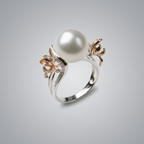 Pearl Ring with White South Sea 12.0-11.0 mm Pearl