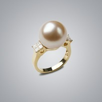 Pearl Ring with Natural Champagne South Sea 14.0-13.0 mm Pearl
