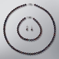 Pearl Necklace, Earrings and Bracelet set with Treated Black Freshwater Pearls