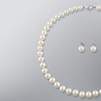 Pearl Necklace and Earrings set with White Freshwater  Pearls