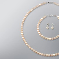 Pearl Necklace, Earrings and Bracelet set with Natural Multicolor Freshwater Pearls