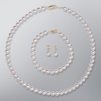 Pearl Necklace, Earrings and Bracelet set with White Color Freshwater Pearls