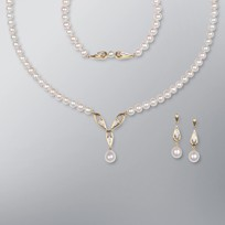 Pearl Necklace, Earrings and Bracelet set with White Freshwater Pearls
