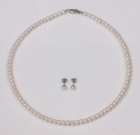 White Freshwater Pearl Set, Necklace, Earrings, 5.0-4.5mm