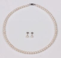 White Freshwater Pearl Set, Necklace and Earrings, 18KW