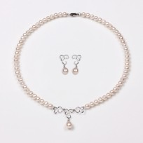 Spiral Necklace and Earrings, White Freshwater Pearl Set, 18KW