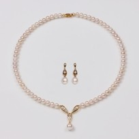 Teardrop White Freshwater Pearl Set, Necklace and Earrings, 18KY