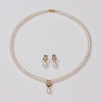 White Freshwater Pearl Set, Necklace and Earrings, with Diamonds, 18KY