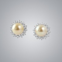 Pearl Earrings with Natural Golden South Sea 14.0-13.0 mm Pearls