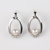 White Freshwater Pearl Earring with Diamonds, 18KW