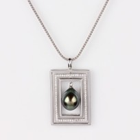 Freshwater Pearl Pendant, Treated Black Color, 9.0mm, Diamonds, 18KW