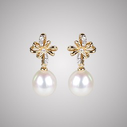 White Freshwater Pearl Earrings, 8.0mm, 18KY