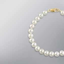 Pearl Bracelet with White Freshwater 7.0-6.5 mm Pearls