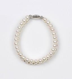 White Freshwater Pearl 2 Strand Bracelet 6.5mm 18KW