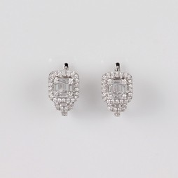 MIKURA Round and Baguette Diamond Earrings