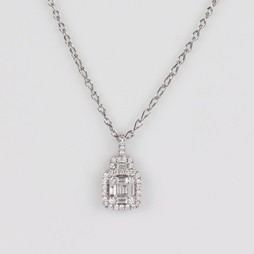 MIKURA Round and Baguette Diamond Pendant