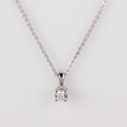 0.24ct Solitaire Diamond Pendant, SI1 clarity, G/H color