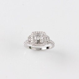 MIKURA Round and Baguette Diamond Ring