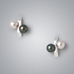 Percentage Pearl Earrings with Natural Multicolor and Treated Black Freshwater Pearls