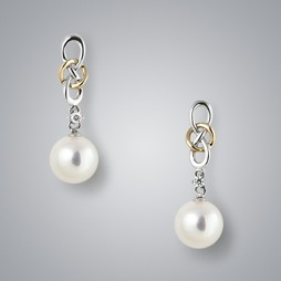 2 Tone Pearl Earrings with White Freshwater Pearls