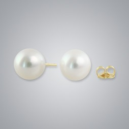 White Freshwater Pearl Stud Earrings, 10.0mm, 18KY