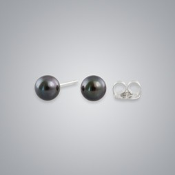 Pearl Stud Earrings with Treated Black Freshwater 5.5-5.0 mm Pearls