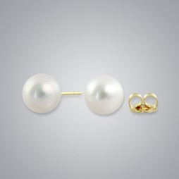 White Freshwater Pearl Stud Earrings, 8.0mm, 18KY