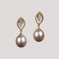 Pearl Earrings, Natural Multicolor Freshwater Pearls, 8.0 mm, 18KY