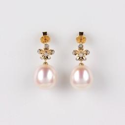 Flower Earrings, White Freshwater Pearls, 10.5mm, 18KY
