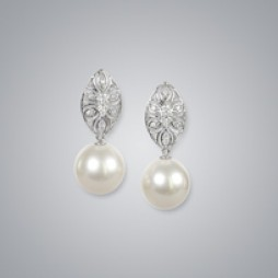 Pearl Earrings with White South Sea 13.0-12.0 mm Pearls