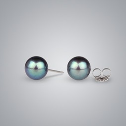 Pearl Earrings with Treated Black Freshwater 8.0-7.5 mm Pearls