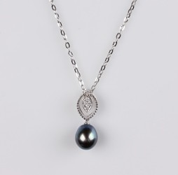 Pearl Pendant, Treated Black color Freshwater Pearls, 8.0 mm, 18KW