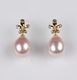 Natural Multi Color Freshwater Pearls, Flower Earrings, 10.5mm, 18KY